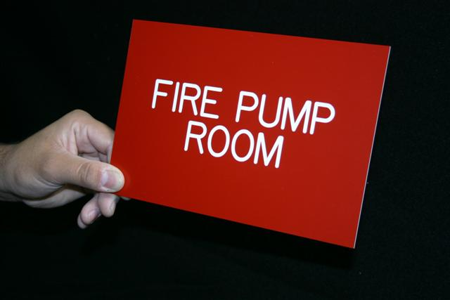 9x6 fire pump room engraved stanco signage systems